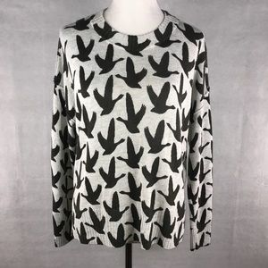 H&M black and gray swallow print sweater Sz Small